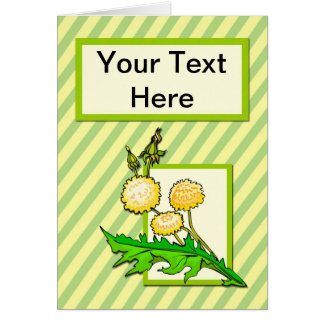 Dandelions on Striped Background Card