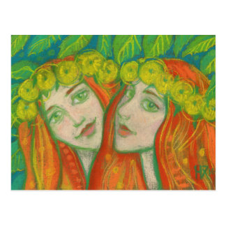 """""""Dandelions"""" pastel painting summer redhaired girl Postcard"""