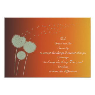 Dandelions Serenity Prayer Customizable Poster