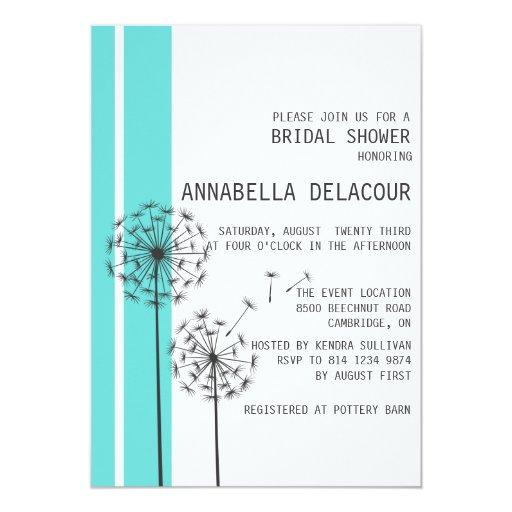 Dandelions Tiffany Blue Bridal Shower InvitatioN | Zazzle