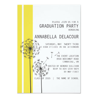 "Dandelions Yellow Graduation Party Invitation 5"" X 7"" Invitation Card"