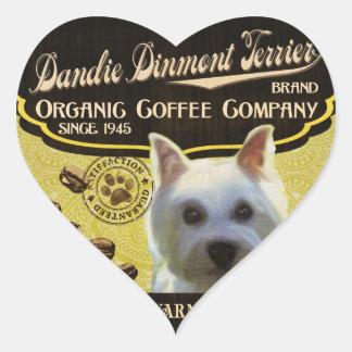 Dandie Dinmont Terrier Brand – Organic Coffee Comp Heart Sticker