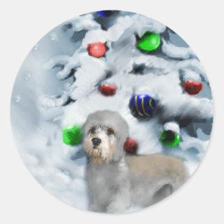 Dandie Dinmont Terrier Christmas Classic Round Sticker