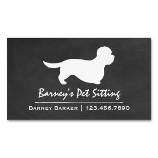 Dandie Dinmont Terrier Silhouette Business Card Magnet