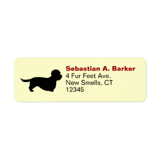 Dandie Dinmont Terrier Silhouette Label