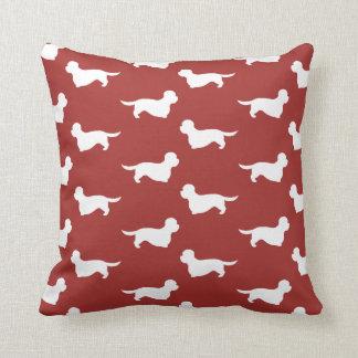 Dandie Dinmont Terrier Silhouettes Pattern Red Throw Pillow