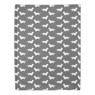 Dandie Dinmont Terriers Pattern Grey Duvet Cover