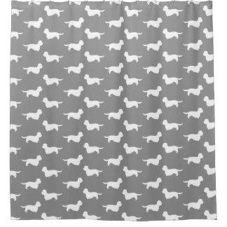 Dandie Dinmont Terriers Pattern Grey Shower Curtain