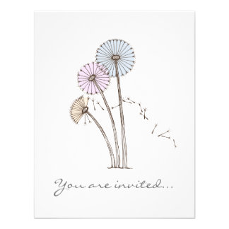Dandilion Clocks Pink Blue and Cream Personalized Announcement
