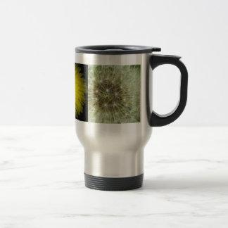 dandilion flower and seedhead travel mug