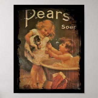 Dando a perrito un baño con las peras jabone póster