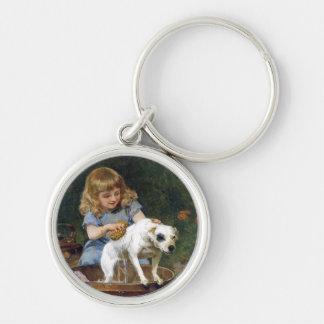 Dando al perro un baño - arte del perro del vintag llavero personalizado