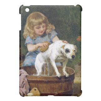 Dando al perro un baño - arte del vintage -
