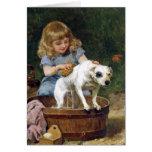 Dando al perro un baño - tarjeta del arte del
