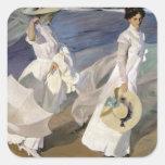 Dando un paseo a lo largo de la costa, 1909 calcomania cuadradas personalizada