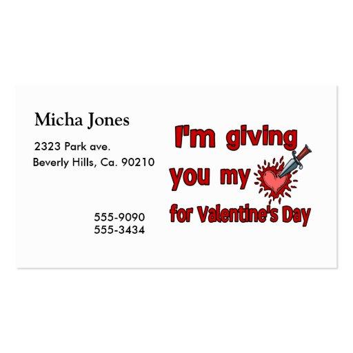 Dándole mi corazón para el el día de San Valentín Tarjetas De Visita