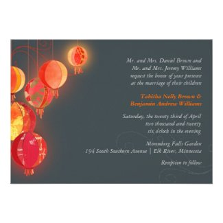Dandy Chinese Lanterns Red & Gray Formal Wedding Personalized Invites