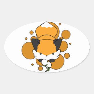 Dandy Fox (circle backsplash) Oval Sticker