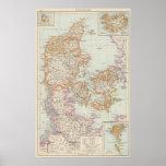 Danemark - mapa de Dinamarca Póster
