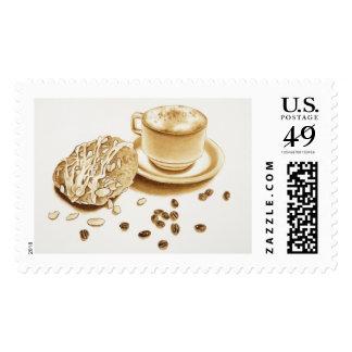 Danés y Cappuccino de la almendra Sello Postal