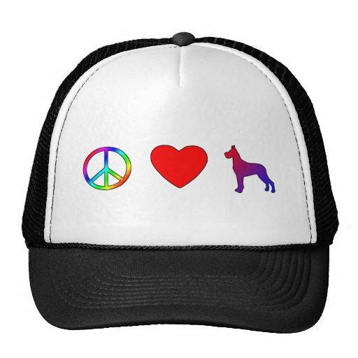 Daneses del amor de la paz grandes gorra