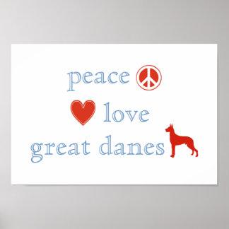 Daneses del amor de la paz grandes poster