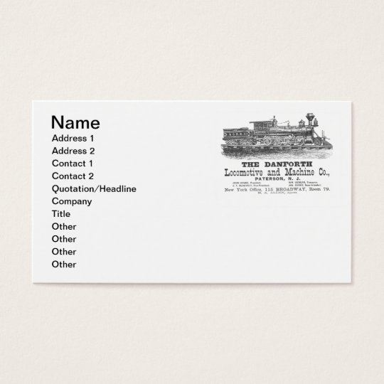Danforth Locomotive and Machine Company Business Card