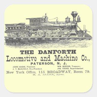 Danforth Locomotive y Machine Company 1852 Pegatina Cuadrada