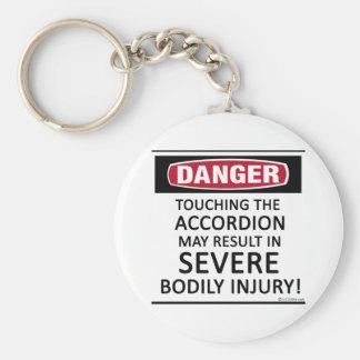 Danger Accordion Basic Round Button Keychain