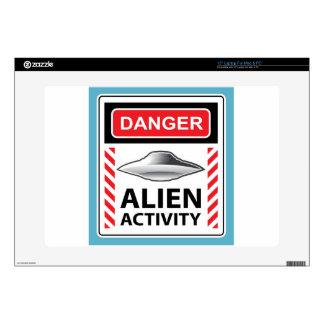 """Danger Alien Activity Warning Sign Vector 15"""" Laptop Decal"""