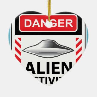 Danger Alien Activity Warning Sign Vector Ceramic Ornament