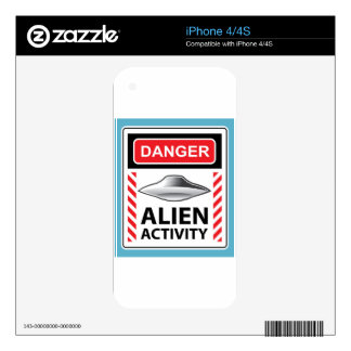 Danger Alien Activity Warning Sign Vector Decal For The iPhone 4