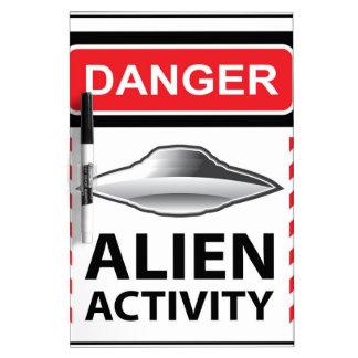 Danger Alien Activity Warning Sign Vector Dry-Erase Board