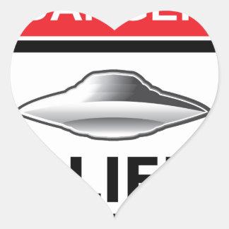 Danger Alien Activity Warning Sign Vector Heart Sticker