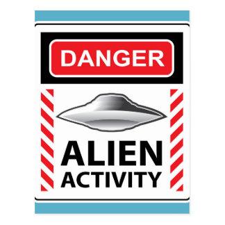 Danger Alien Activity Warning Sign Vector Postcard