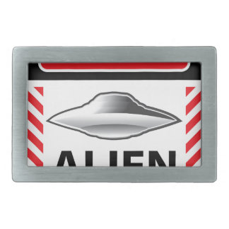 Danger Alien Activity Warning Sign Vector Rectangular Belt Buckle