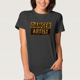DANGER ARTIST Distressed Metal Rust Sign T-shirt