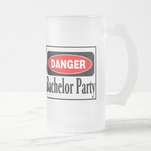 Danger Bachelor Party 16 Oz Frosted Glass Beer Mug