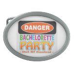 Danger bachelorette party funny bridal party oval belt buckles