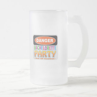 Danger bachelorette party funny bridal party frosted glass beer mug