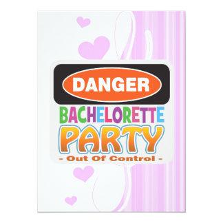 Danger bachelorette party funny bridal party personalized announcements