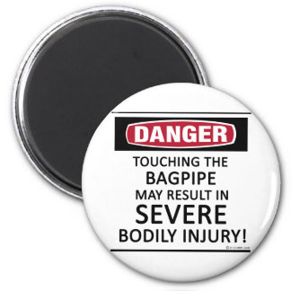 Danger Bagpipe 2 Inch Round Magnet