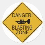 Danger Blasting Zone Classic Round Sticker
