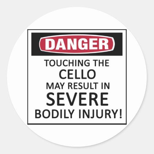 Danger Cello Round Stickers
