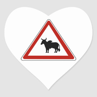 Danger Cows, Traffic Sign, Burkina Fasso Heart Sticker