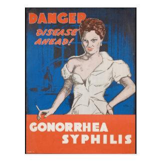 Danger! Disease Ahead! WWII STD Warning Postcard