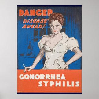 Danger! Disease Ahead! WWII STD Warning Poster