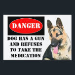 "Danger, Dog has Gun - Customized Lawn Sign<br><div class=""desc"">A bit of humor that get the message across.  Beware of dog with a twist of humor</div>"