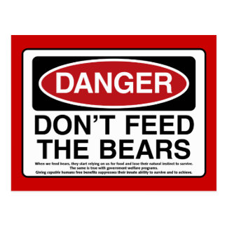 DANGER: Don't Feed the Bears Postcard