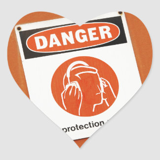 Danger! Ear protection required Heart Sticker